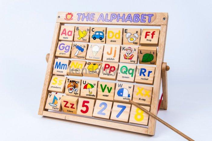 Combo bảng chữ Anh Việt khung xoay dính liền bằng gỗ2