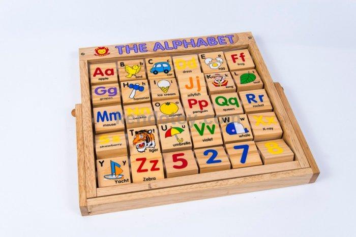 Combo bảng chữ Anh Việt khung xoay dính liền bằng gỗ1