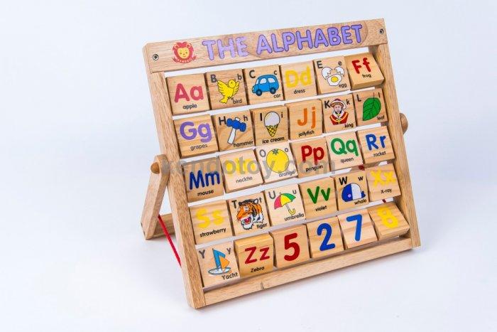 Combo bảng chữ Anh Việt khung xoay dính liền bằng gỗ0