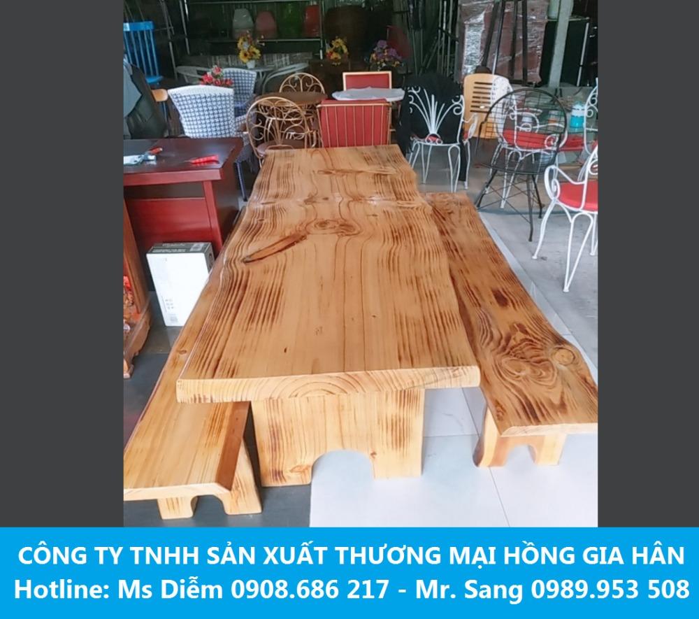 Bộ bàn ghế gỗ thông HGH tự nhiên giá rẻ0