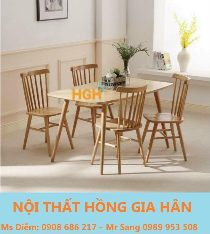 Bộ bàn ghế gỗ phòng ăn sang trọng HGH7480