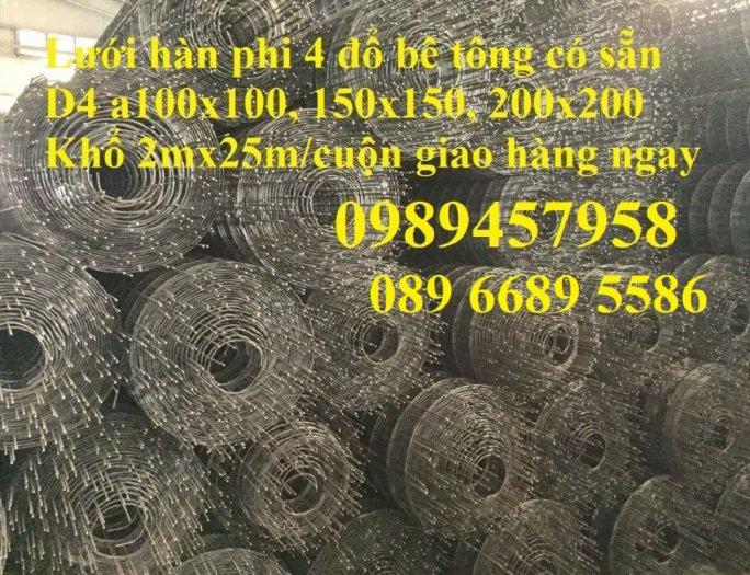 Chuyên Lưới thép đổ sàn bê tông đổ đường chống nứt phi 4, Lưới thép phi 4 ô 200x200, 250x2506