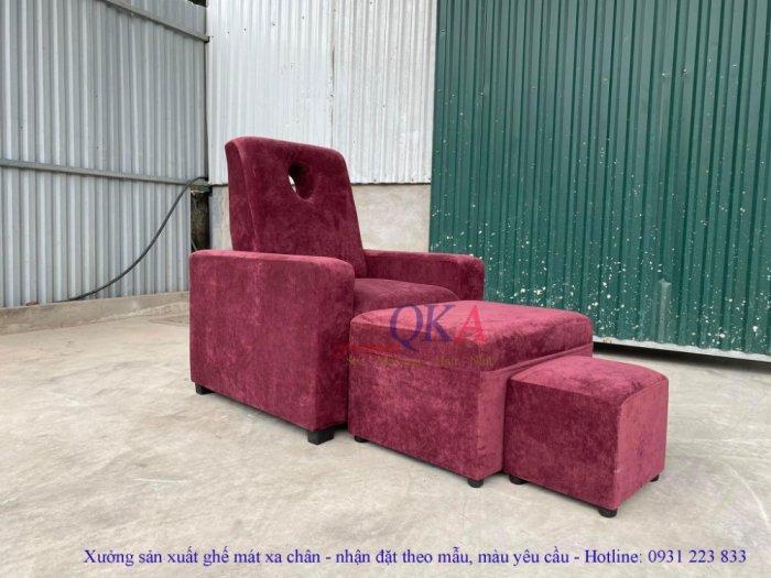 Bộ ghế massage chân spa bọc nỉ nhung tím mộng mơ2