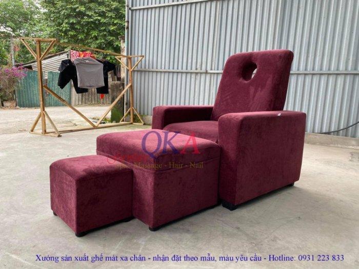 Bộ ghế massage chân spa bọc nỉ nhung tím mộng mơ1