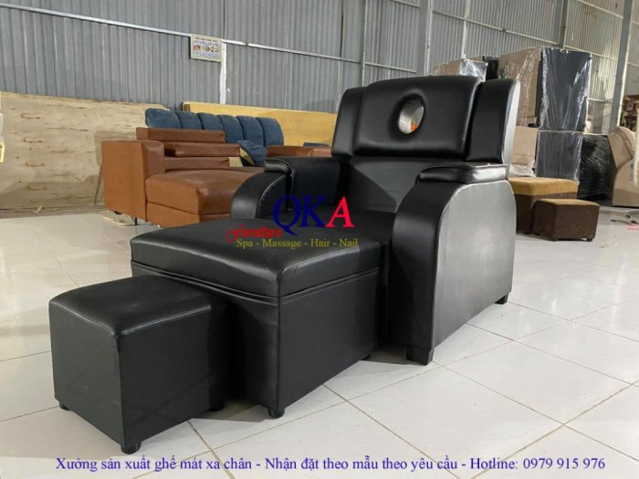 Bộ ghế massage foot bọc nỉ đen huyền bí1