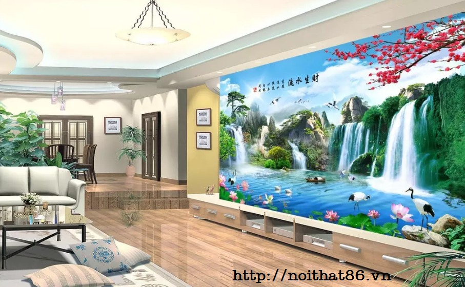 Gạch tranh ốp tường trang trí phòng khách 3d HP0463610