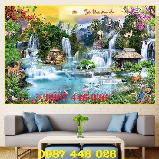 Gạch tranh ốp tường trang trí phòng khách 3d HP046367