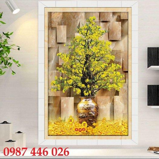 Gạch tranh ốp tường trang trí phòng khách 3d HP046364