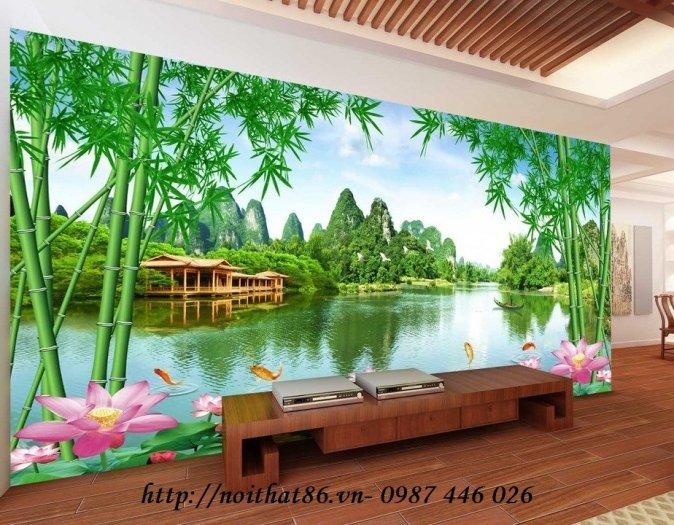 Gạch tranh 3d phòng khách ốp tường Hp628110
