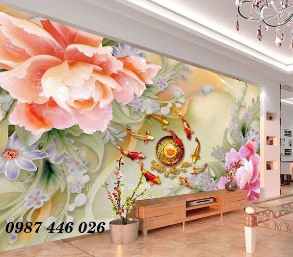 Gạch tranh 3d phòng khách ốp tường Hp62818