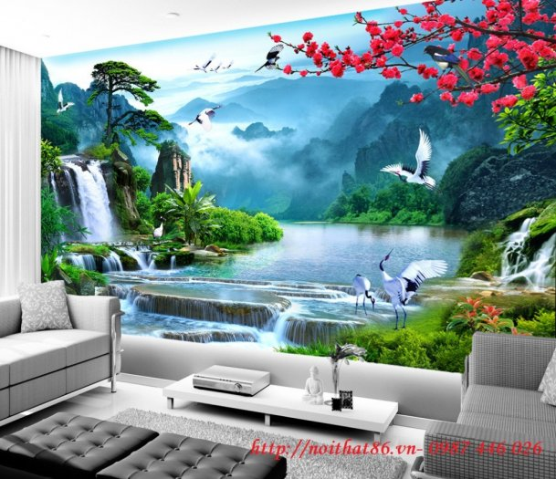 Gạch tranh 3d phòng khách ốp tường Hp62815