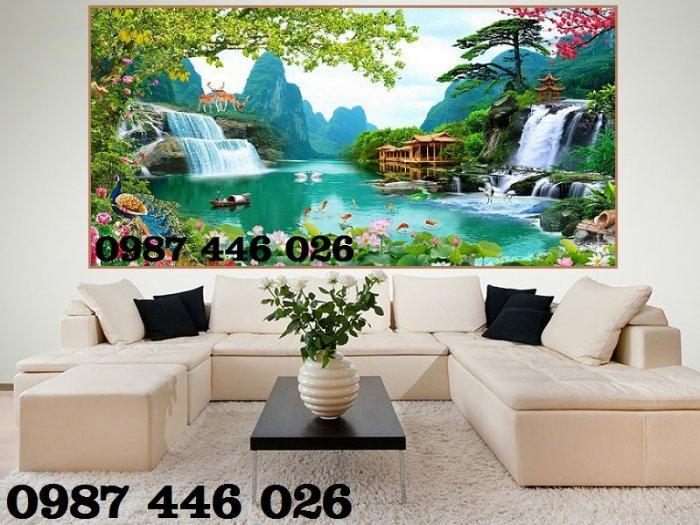 Gạch tranh 3d phòng khách ốp tường Hp62814