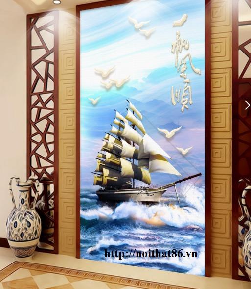 Tranh gạch men thuyền buồm- gạch 3d, tranh trang trí HP7611