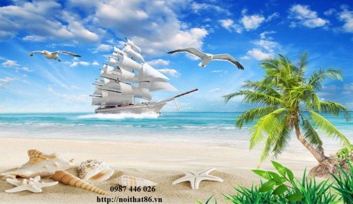 Tranh gạch men thuyền buồm- gạch 3d, tranh trang trí HP7610