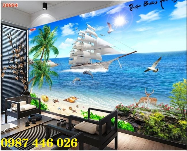 Tranh gạch men thuyền buồm- gạch 3d, tranh trang trí HP769