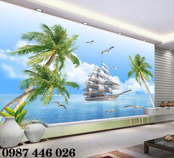 Tranh gạch men thuyền buồm- gạch 3d, tranh trang trí HP766