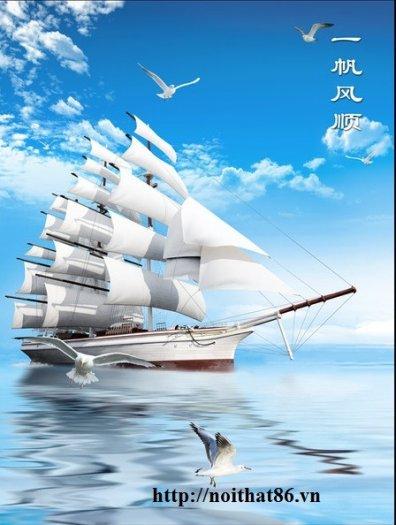 Tranh gạch men thuyền buồm- gạch 3d, tranh trang trí HP764