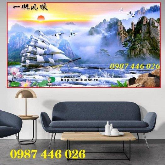 Tranh gạch men thuyền buồm- gạch 3d, tranh trang trí HP763