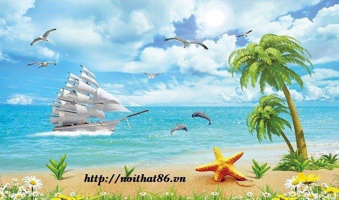 Tranh gạch men thuyền buồm- gạch 3d, tranh trang trí HP762