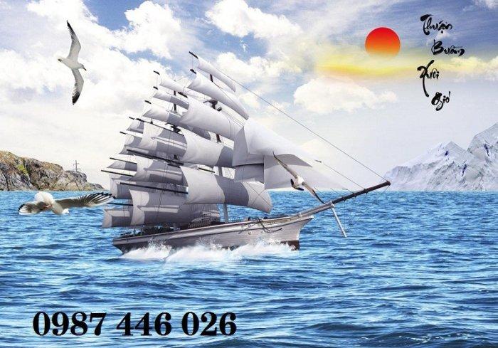 Tranh gạch men thuyền buồm- gạch 3d, tranh trang trí HP761