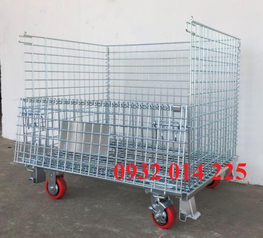 Lồng trữ hàng có bánh xe, lồng sắt mạ kẽm, xe đẩy lồng, sọt trữ hàng, lồng thép đựng hàng, lồng thép có bánh xe, pallet lưới, xe đẩy hàng nặng,lồng trữ hàng0
