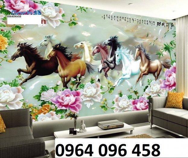 Tranh 8 con ngựa - tranh gạch 3d 8 con ngựa - MD337