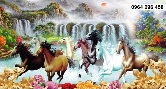 Tranh 8 con ngựa - tranh gạch 3d 8 con ngựa - MD335
