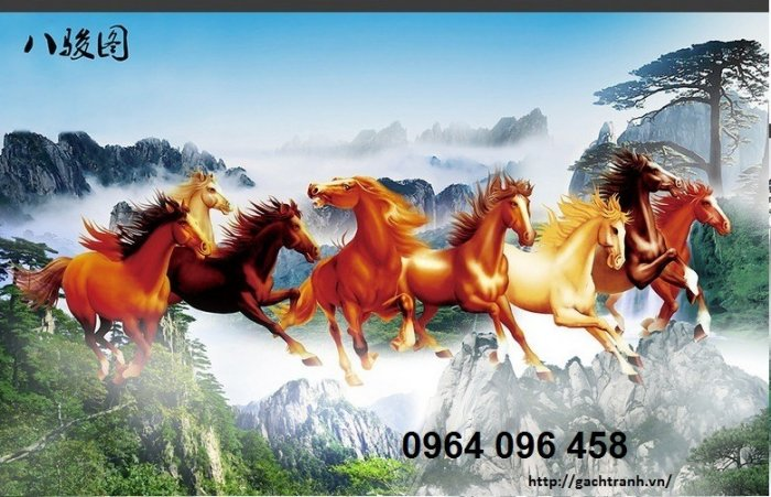 Tranh 8 con ngựa - tranh gạch 3d 8 con ngựa - MD334