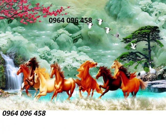 Tranh 8 con ngựa - tranh gạch 3d 8 con ngựa - MD330