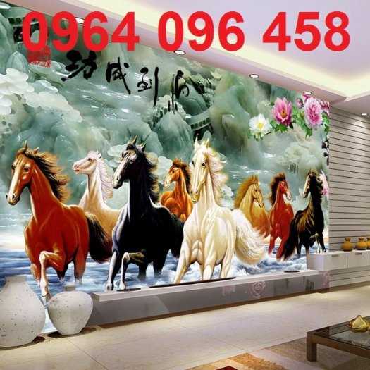 Tranh treo tường 3d mẫu tranh ngựa phi - HD444