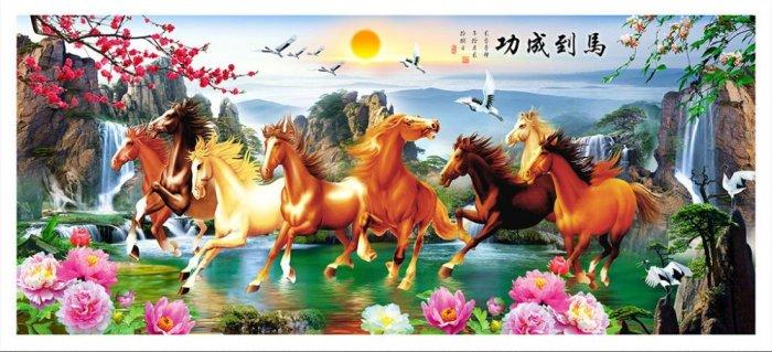 Tranh treo tường 3d mẫu tranh ngựa phi - HD443