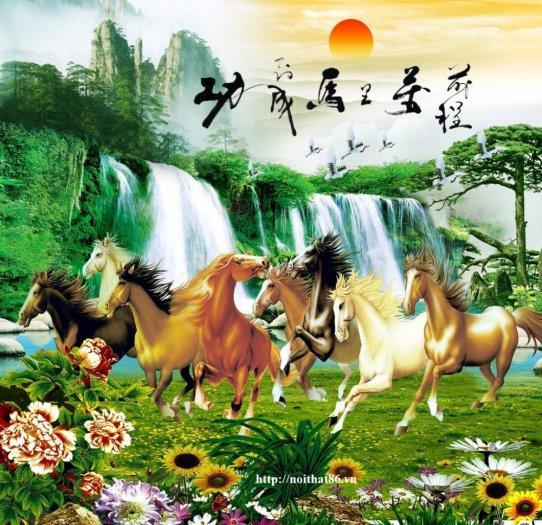 Gạch tranh ngựa- mã đáo thành công HP71507