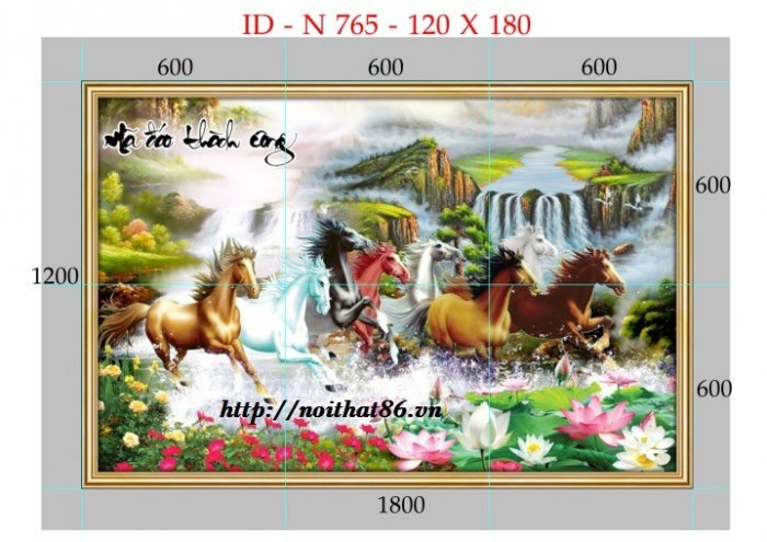 Gạch tranh ngựa- mã đáo thành công HP71500