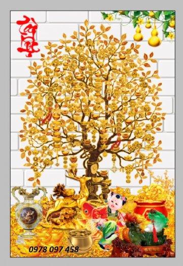 Gạch tranh - tranh cây tiền 3D1