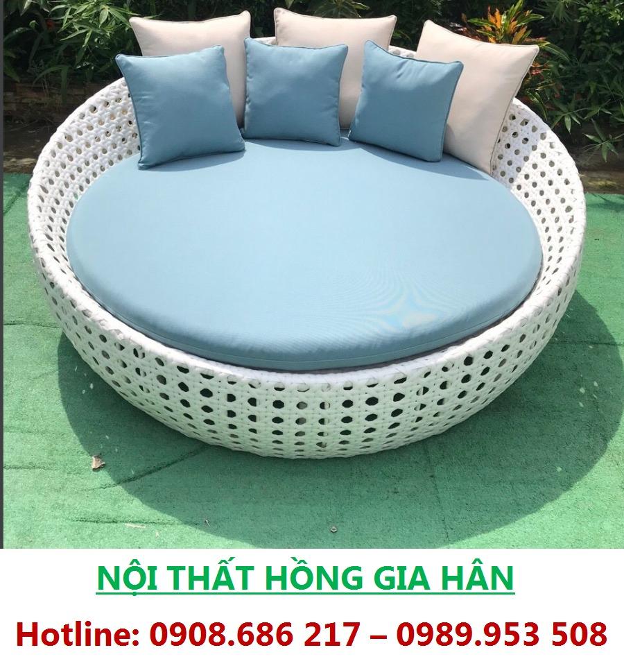 Giường Tắm Nắng Thư Giãn Nhựa Giả Mây Cho Resort HGH0