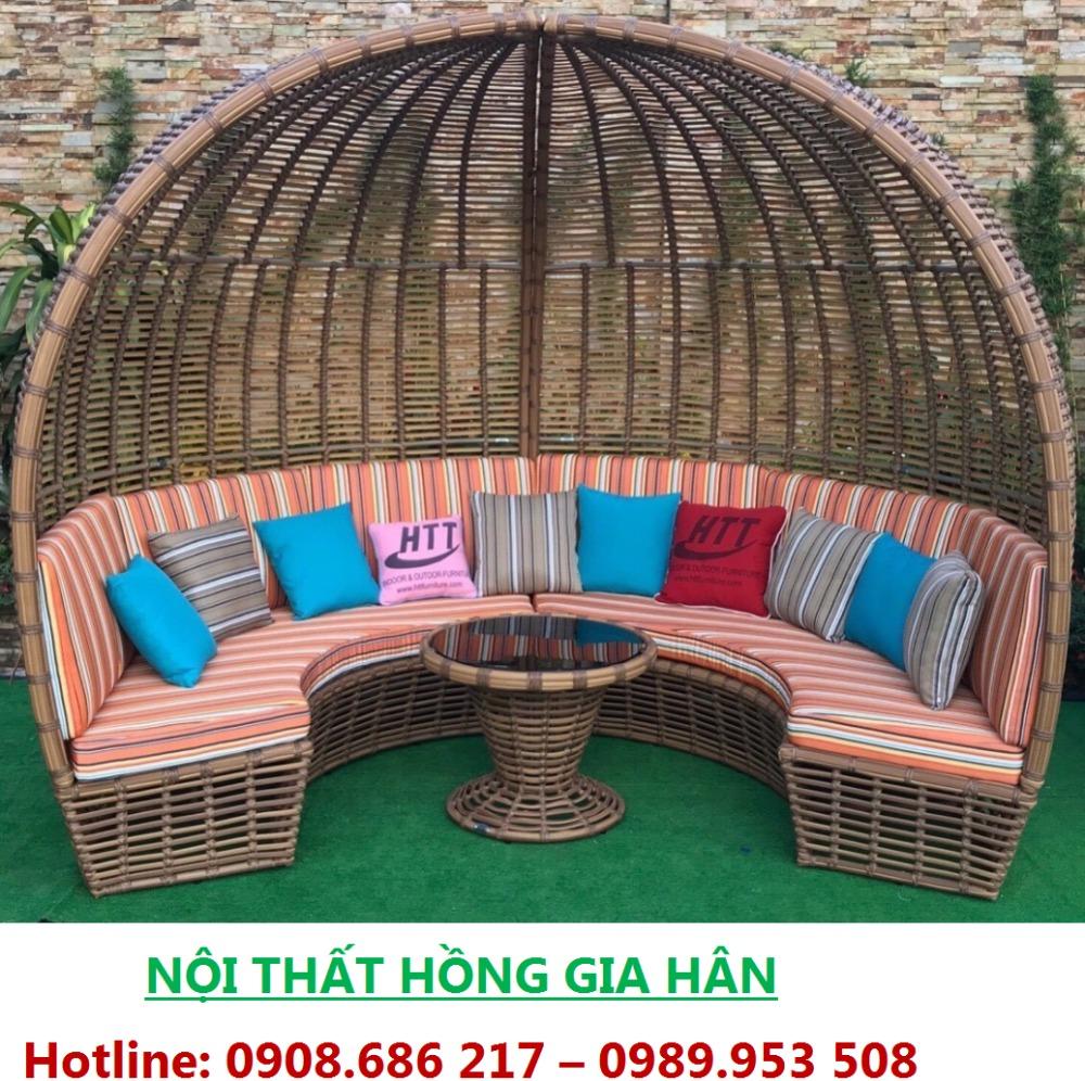 Giường Thư Giãn Ngoài Trời Nhựa Giả Mây Cho Resort HGH0