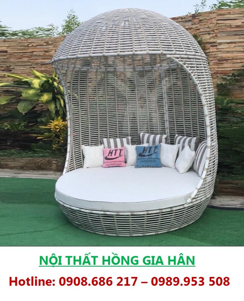 Giường Mây Nhựa Thư Giãn Tắm Nắng Ngoài Trời Cho Resort HGH TG040