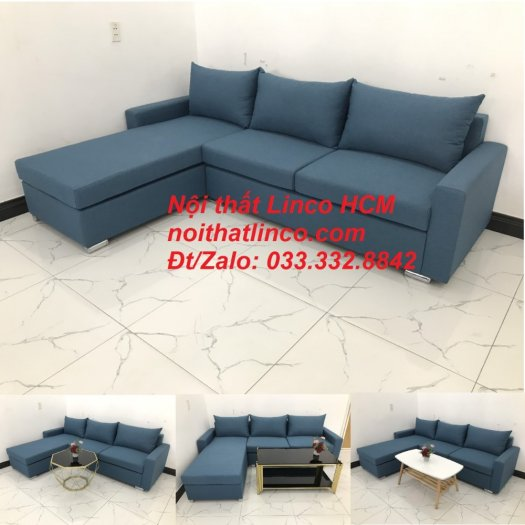 Bộ ghế sofa góc L xanh dương nước biển phòng khách giá rẻ   Nội thất Linco Tphcm HCM Hồ Chí Minh Sài Gòn SG10