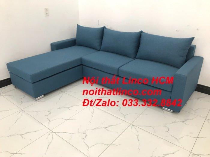Bộ ghế sofa góc L xanh dương nước biển phòng khách giá rẻ   Nội thất Linco Tphcm HCM Hồ Chí Minh Sài Gòn SG9