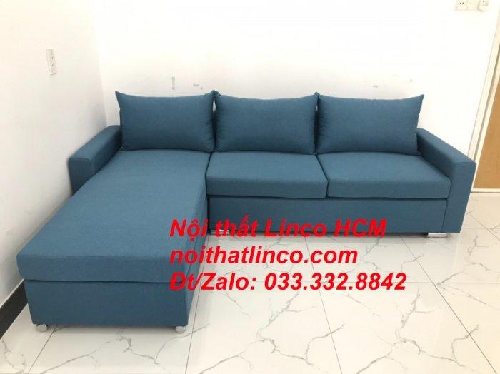 Bộ ghế sofa góc L xanh dương nước biển phòng khách giá rẻ   Nội thất Linco Tphcm HCM Hồ Chí Minh Sài Gòn SG8