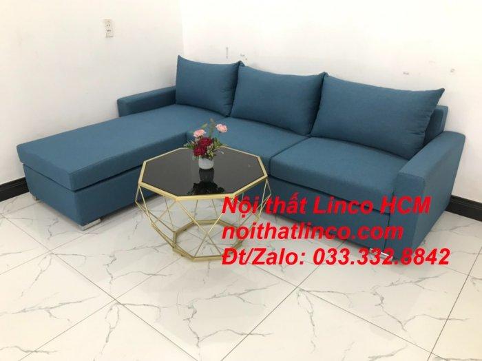 Bộ ghế sofa góc L xanh dương nước biển phòng khách giá rẻ   Nội thất Linco Tphcm HCM Hồ Chí Minh Sài Gòn SG7