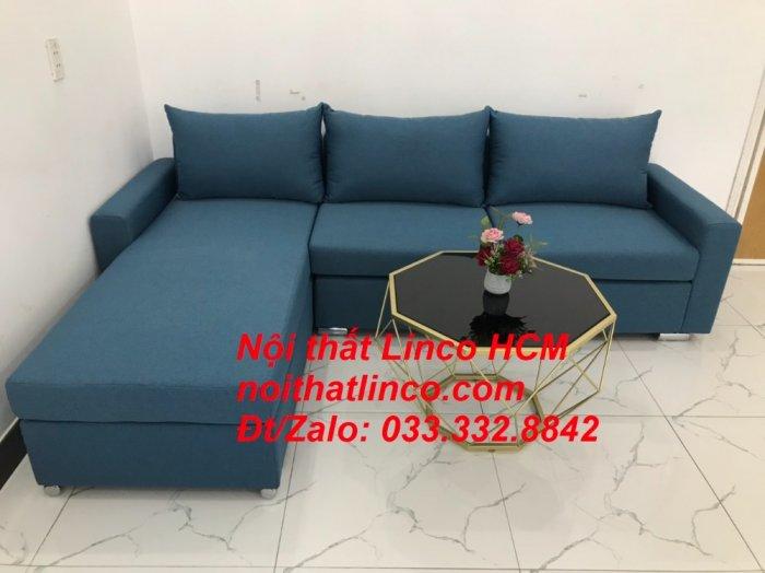 Bộ ghế sofa góc L xanh dương nước biển phòng khách giá rẻ   Nội thất Linco Tphcm HCM Hồ Chí Minh Sài Gòn SG6