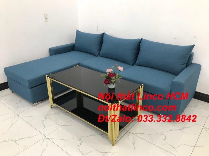 Bộ ghế sofa góc L xanh dương nước biển phòng khách giá rẻ   Nội thất Linco Tphcm HCM Hồ Chí Minh Sài Gòn SG5