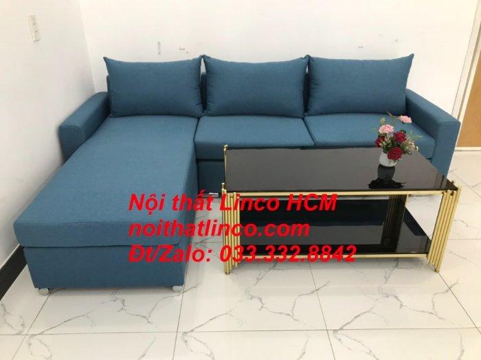 Bộ ghế sofa góc L xanh dương nước biển phòng khách giá rẻ   Nội thất Linco Tphcm HCM Hồ Chí Minh Sài Gòn SG4