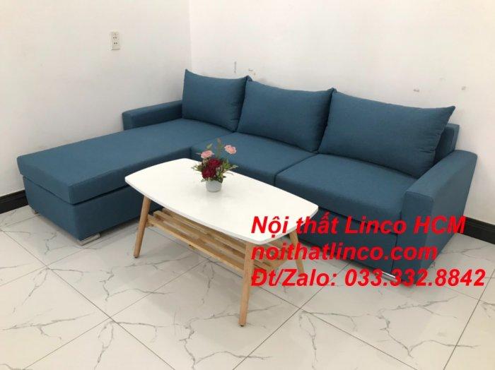 Bộ ghế sofa góc L xanh dương nước biển phòng khách giá rẻ   Nội thất Linco Tphcm HCM Hồ Chí Minh Sài Gòn SG3