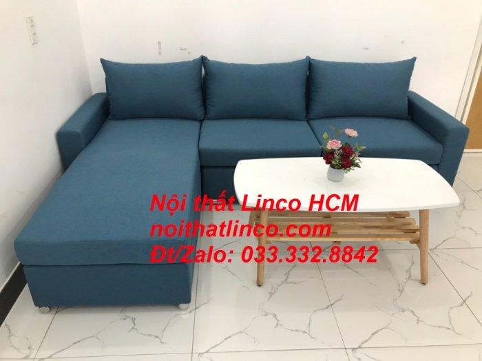 Bộ ghế sofa góc L xanh dương nước biển phòng khách giá rẻ   Nội thất Linco Tphcm HCM Hồ Chí Minh Sài Gòn SG2