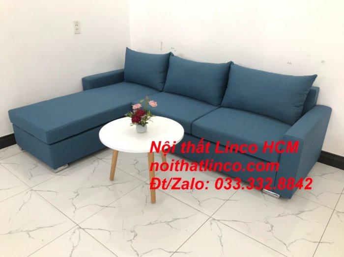 Bộ ghế sofa góc L xanh dương nước biển phòng khách giá rẻ   Nội thất Linco Tphcm HCM Hồ Chí Minh Sài Gòn SG1