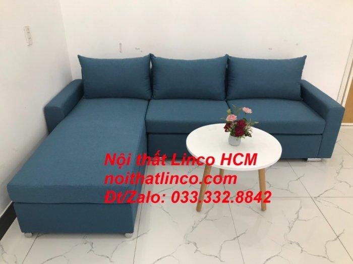 Bộ ghế sofa góc L xanh dương nước biển phòng khách giá rẻ   Nội thất Linco Tphcm HCM Hồ Chí Minh Sài Gòn SG0