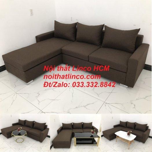 Bộ ghế sofa góc L giá rẻ nâu đen đậm | Sofa L phòng khách | Nội thất Linco Tphcm HCM Hồ Chí Minh Sài Gòn SG10