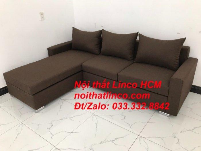 Bộ ghế sofa góc L giá rẻ nâu đen đậm | Sofa L phòng khách | Nội thất Linco Tphcm HCM Hồ Chí Minh Sài Gòn SG9